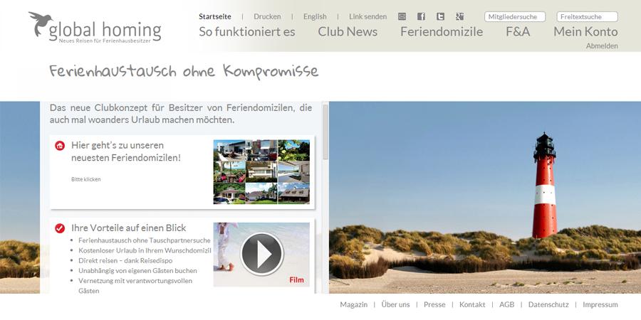 Die Website von Global Homing, einem Portal für den Ferienhaustausch