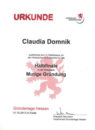 Urkunde Halbfinale 2013