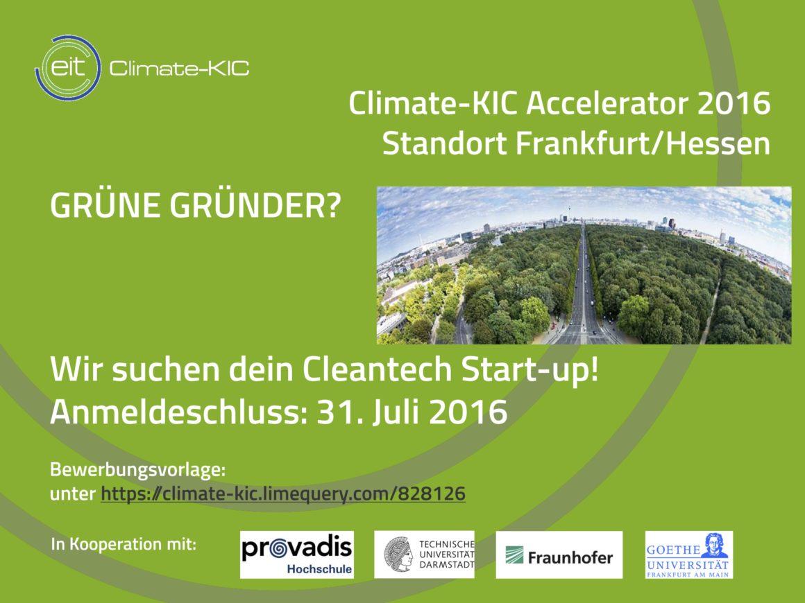 Bewerbung zum Climate-KIC Accelerator 2016
