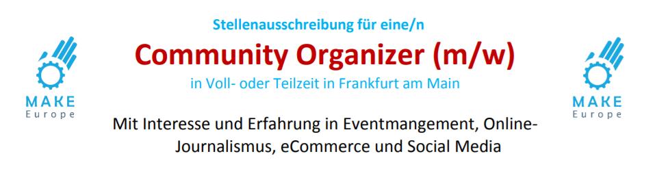 make rhein main sucht community organizer m w in voll oder teilzeit in frankfurt rhein main. Black Bedroom Furniture Sets. Home Design Ideas