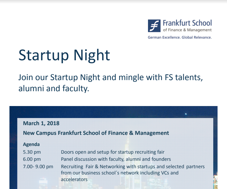 Second Startup Night from FS announcement