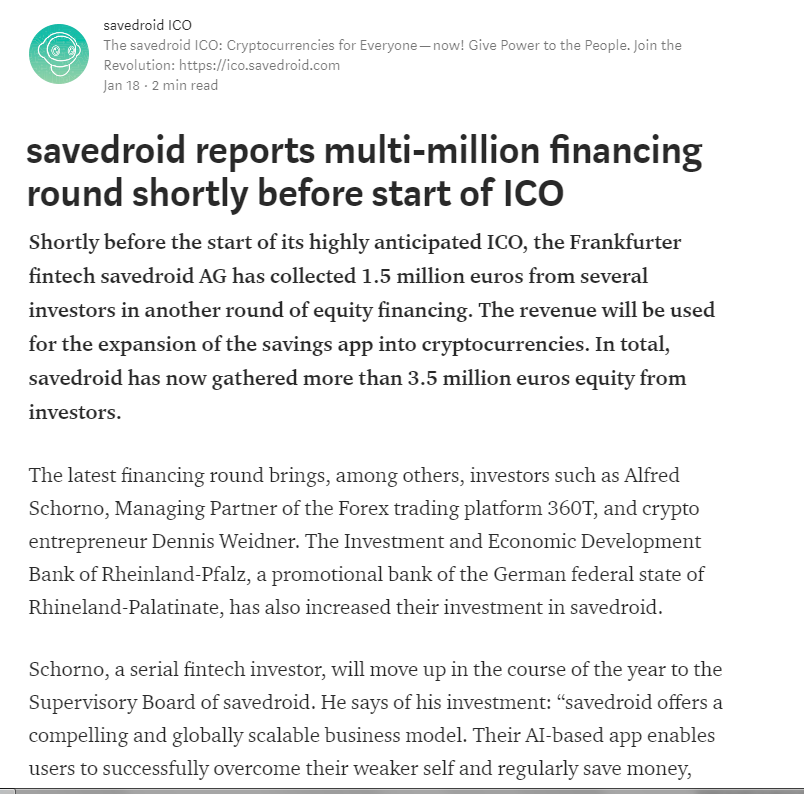Another multi-million financing round  for Savedroid?